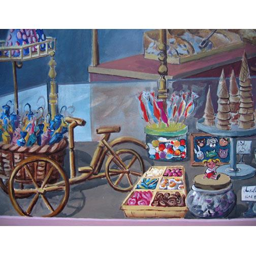 le paradis des bonbons fresque murale trompe l il. Black Bedroom Furniture Sets. Home Design Ideas